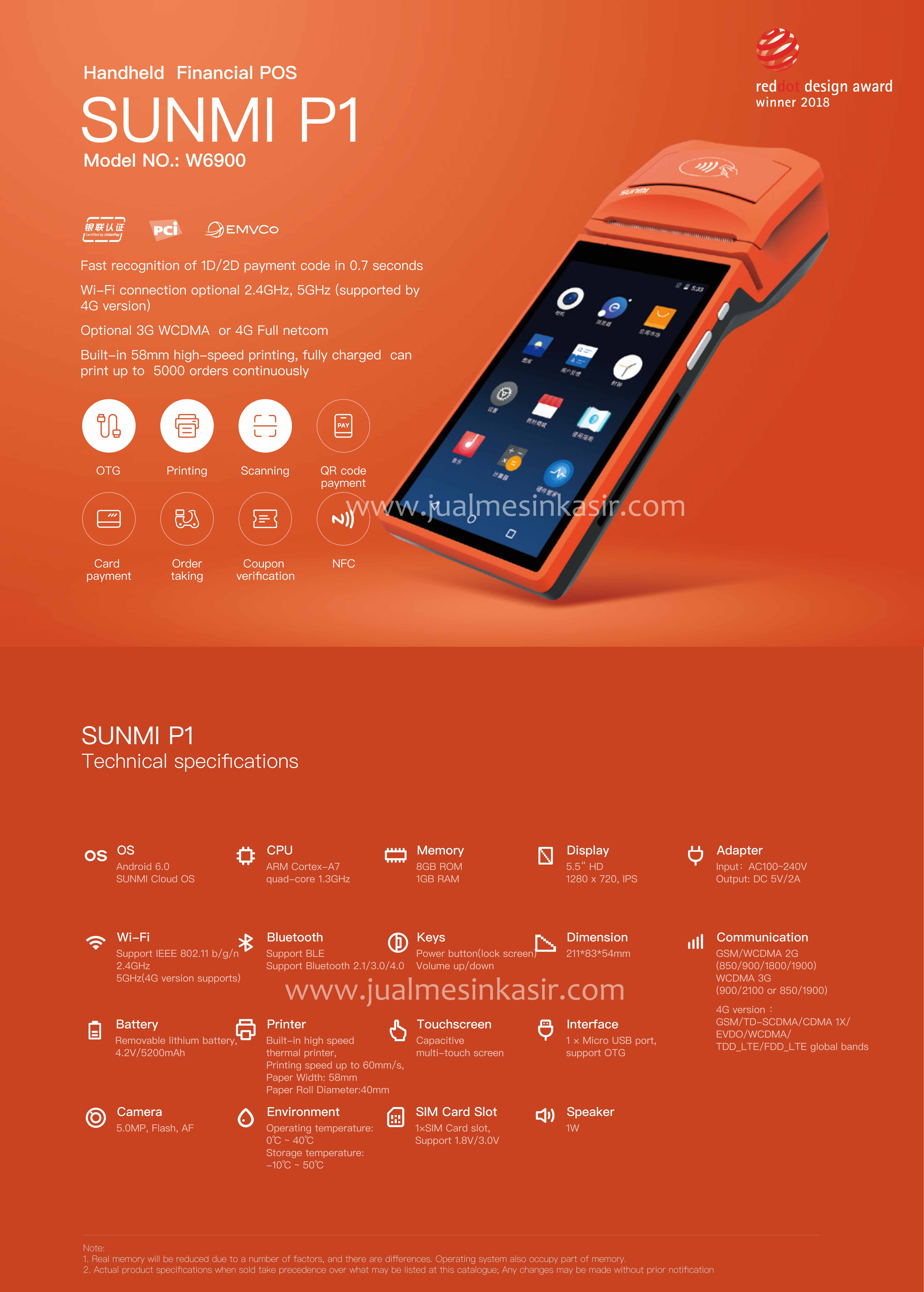 SUNMI Mesin Kasir Android - Paket Mesin Kasir